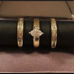 Marquise Diamond Ring And Two Band Set Size 5